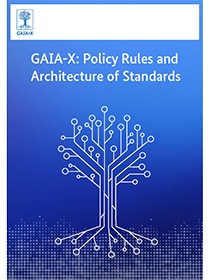 """Cover of the publication """"GAIA-X: Policy Rules and Architecture of Standards"""""""